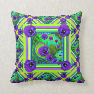 CHARTREUSE SPRING GREEN PURPLE PANSY FLORAL THROW PILLOW
