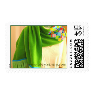 Chartreuse Squares of Many Colors Scarf Postage