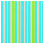 [ Thumbnail: Chartreuse, Tan, and Cyan Lined/Striped Pattern Fabric ]