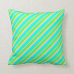 [ Thumbnail: Chartreuse, Tan, and Cyan Lined/Striped Pattern Throw Pillow ]