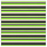 [ Thumbnail: Chartreuse, Tan & Black Lines Fabric ]
