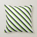 [ Thumbnail: Chartreuse, Tan, Dark Slate Gray, Black, and White Throw Pillow ]