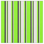 [ Thumbnail: Chartreuse, White, and Black Colored Stripes Fabric ]