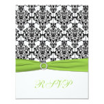 "Chartreuse, White, and Black Damask Reply Card 4.25"" X 5.5"" Invitation Card"