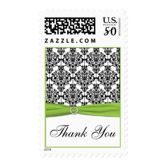 Chartreuse, White, and Black Damask Thank You Postage