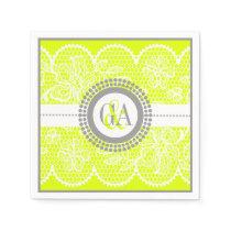 Chartreuse, white lace pattern wedding paper napkin