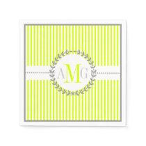 Chartreuse, white striped pattern wedding napkin