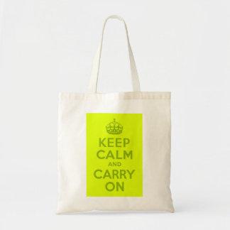 Chartreuse y verde guarde la calma y continúe bolsa de mano