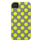 Chartreuse Yellow Charcoal Gray Polka Dots iPhone 4 Case-Mate Case