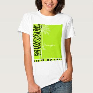 Chartreuse Zebra Stripes Animal Print; Palm Shirt