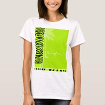 Chartreuse Zebra Stripes Animal Print; Palm T-Shirt