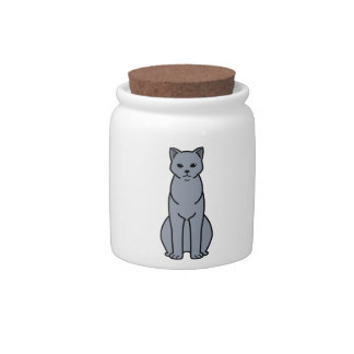 Chartreux Cat Cartoon Candy Dishes