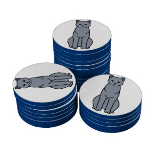 Chartreux Cat Cartoon Set Of Poker Chips