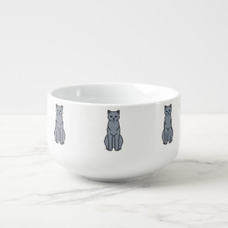 Chartreux Cat Cartoon Soup Bowl With Handle
