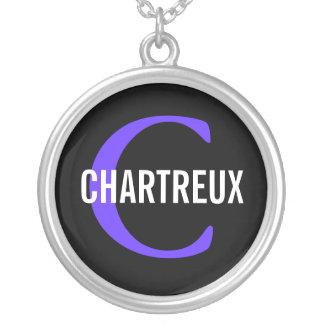 Chartreux Cat Monogram Design Round Pendant Necklace