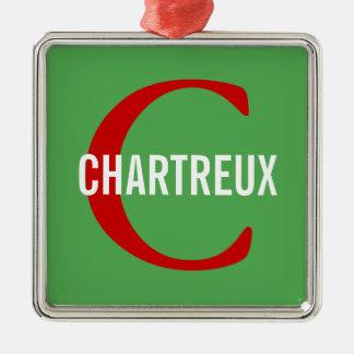 Chartreux Cat Monogram Design Square Metal Christmas Ornament