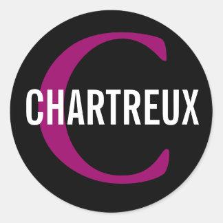 Chartreux Cat Monogram Design Classic Round Sticker
