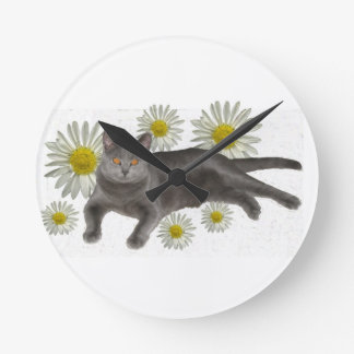 Chartreux Cat with Daisies Round Wall Clocks