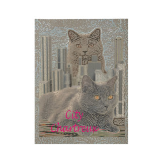 Chartreux Cats in the City Wood Poster