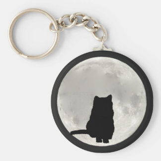 Chartreux Full Moon Basic Round Button Keychain
