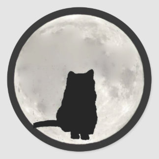 Chartreux Full Moon Classic Round Sticker