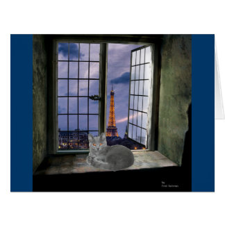 Chartreux in Paris Large Greeting Card
