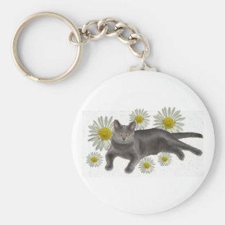 Chartreux w/daisies basic round button keychain