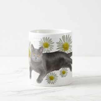 Chartreux with daisies classic white coffee mug