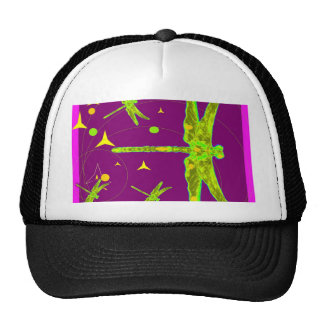 Chartruese Dragonfly Purple Fantasy by Sharles Hat