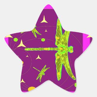 Chartruese Dragonfly Purple Fantasy   by Sharles Star Sticker