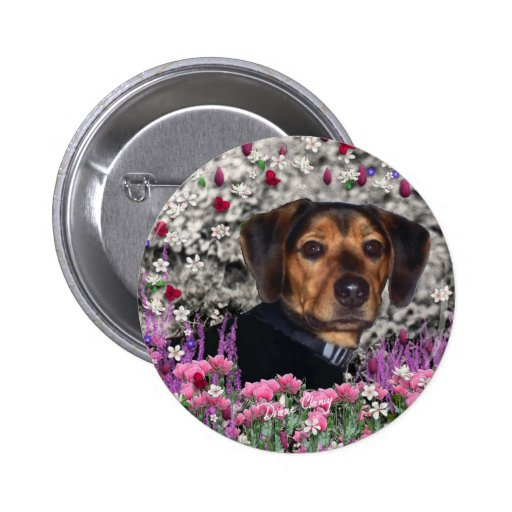 Chase in Flowers Button