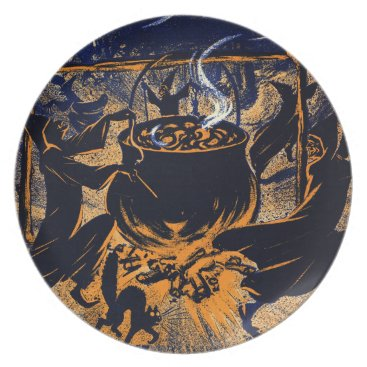 Halloween Themed Chase of the Witches Melamine Plate