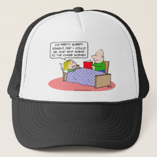 chase scene kid bed dad read book trucker hat