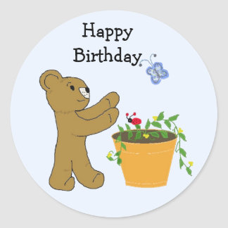Chasing A Butterfly - Happy Birthday Classic Round Sticker