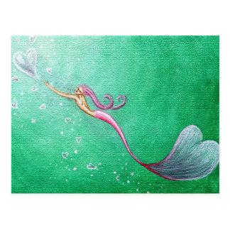 Chasing Heart-Shaped Bubbles Mermaid Postcard