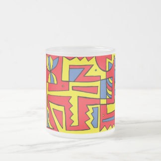 Chasnoff Abstract Expression Yellow Red Blue 10 Oz Frosted Glass Coffee Mug