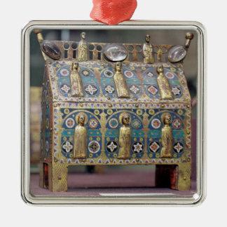 Chasse del relicario, Limoges, c.1200-50 Adorno Cuadrado Plateado