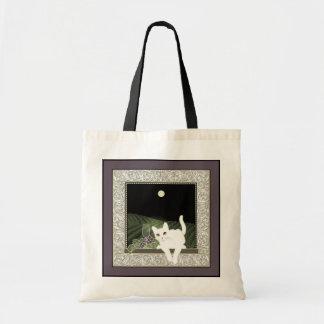 Chat Blanc, Vin et la Lune Tote Bag