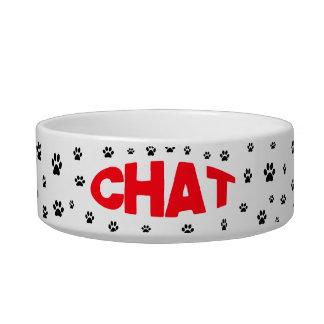 """Chat"" French Language Cat Pet Bowl"