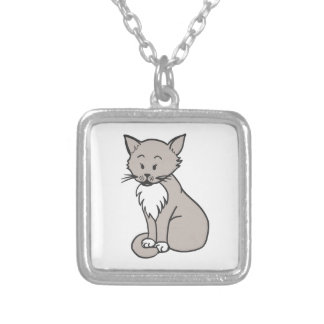 Chat gris silver plated necklace