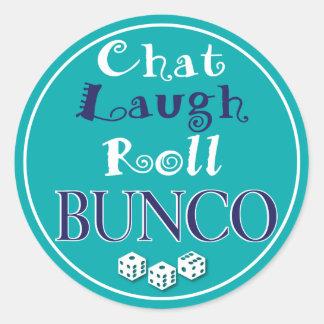 chat,laugh,roll - bunco classic round sticker