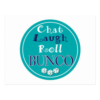 chat,laugh,roll - bunco postcard