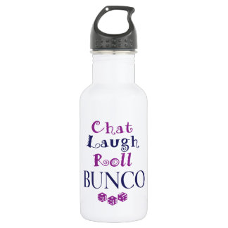 chat,laugh,roll - bunco stainless steel water bottle