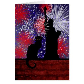 Chat Noir And July 4th Card by HolidayBug at Zazzle