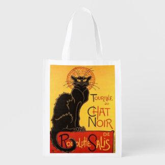 chat noir, art deco.reusable shopping bag market totes