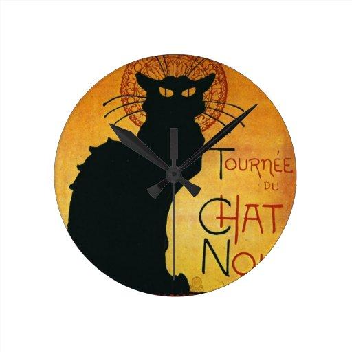 Chat Noir - Black Cat Round Wallclocks