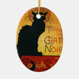 Chat Noir - Black Cat Double-Sided Oval Ceramic Christmas Ornament
