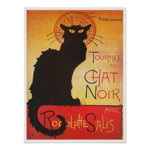 Chat Noir by Steinlen Vintage French cabaret cat Poster ...