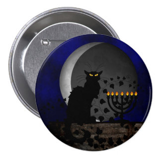 Chat Noir Chanukah Pinback Button