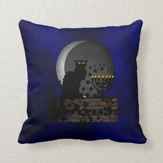 Chat Noir Chanukah Throw Pillow